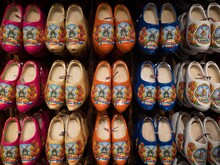 Selection Of Traditional Typical Dutch Footwear Klompen Klomp Clog Shoes In Zaanse Schans Amsterdam Holland Netherlands