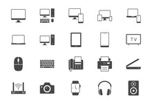 Technology Glyph Flat Icons. Vector Illustration Include Icon - Computer, Monitor, Laptop, Cellphone, Router, Fax, Scanner, Silhouette Pictogram For Electronic Equipment