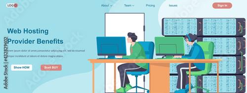 Billede på lærred Web Hosting Providers Benefits banner concept