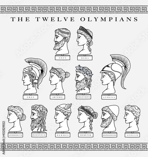 Fotografia Vector illustration set of the Twelve Olympian Gods