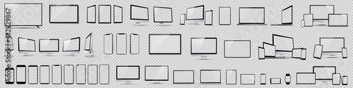 Fototapeta Set mockups of technology devices with empty display, device screen mockup collection, big realistic set mock up TV, computer, laptop, tablet, smartphone and watch with shadow - vector obraz