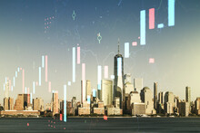 Multi Exposure Of Virtual Abstract Financial Graph Interface On Manhattan Cityscape Background, Financial And Trading Concept