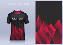 Fabric Textile Design For Sport T-shirt, Soccer Jersey Mockup For Football Club. Uniform Front View.