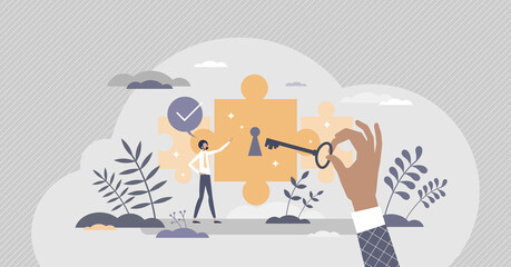 Potential achievement and open unrealized power or talent tiny person concept. Scene with horizon expanding with unlocking key and professional ability growth vector illustration. Unleash career goal.
