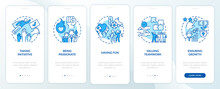Main Company Core Values Onboarding Mobile App Page Screen With Concepts. Enthusiasm, Passion Walkthrough 5 Steps Graphic Instructions. UI, UX, GUI Vector Template With Linear Color Illustrations