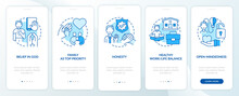 Personal Morals Onboarding Mobile App Page Screen With Concepts. Faith, Trustworthiness Walkthrough 5 Steps Graphic Instructions. UI, UX, GUI Vector Template With Linear Color Illustrations