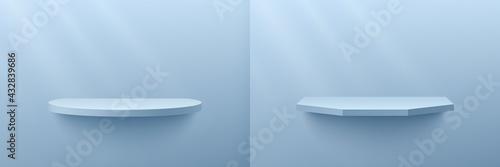 Obraz na plátně Set of light blue cylinder and hexagon shelf, Pedestal Podium