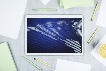 Digital America map on modern digital tablet screen, international trading concept. Top view. 3D Rendering