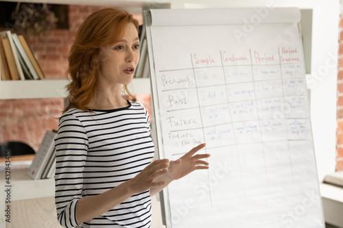 Fotografia Close up confident woman coach lecturer speaking and explaining, doing flip char