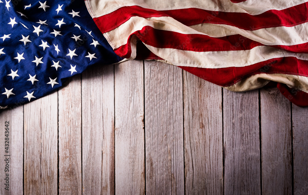 Happy memorial day concept made from american flag on old wooden background.