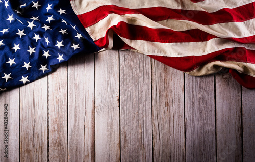 Fototapeta Happy memorial day concept made from american flag on old wooden background. obraz