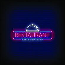 Restaurant Logo Neon Signs Style Text Vector