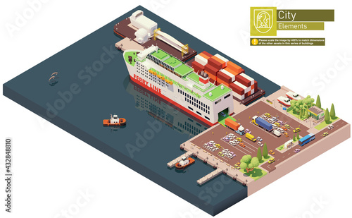Fototapeta Vector isometric ferry ship unloading or at the port. Docked ferry with open gates and ramp unloading cars and trucks obraz