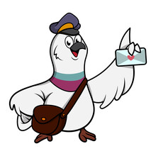 Funny Pigeon Cartoon Characters, Wearing Postman Hat And Shoulder Bag, Delivering Envelope With Heart Sign, Suitable For Mascot Or Logo For Delivery Service Business