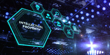The Concept Of Business, Technology, The Internet And The Network.  Virtual Screen Of The Future And Sees The Inscription: Intellectual Property