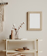 Leinwandbild Motiv Mock up frame in cozy beige home interior background, Boho style, 3d render