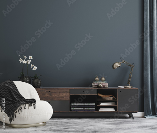 Home mockup, modern interior background, 3d render