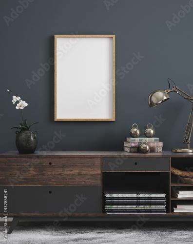 Fototapeta Mockup poster frame in modern interior background, 3d render obraz