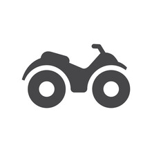 Atv Or Motorbike Black Vector Icon. Quad All Terrain Vehicle Symbol.