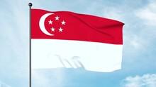 3D Illustration Of The National Flag Of Singapore, Singaporean Flag, Horizontal Bicolour Of Red Above White,