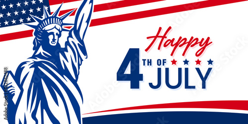 Happy 4th of July USA independence day celebration design with confetti and stars on American flag and statue of liberty banner background Fototapet