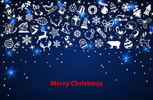 Merry Christmas And Happy New Year Background With Xmas Winter Decoration Design Elements, Objects, Items