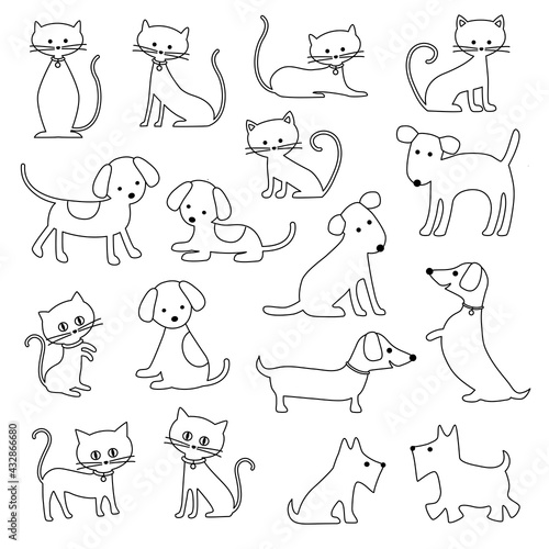 cats and dogs black outline digital stamps - fototapety na wymiar
