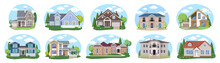 Big Houses Set N2, Vector Buildings Set. Flat Design Houses Set Isolated On White Background.
