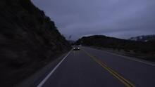 Hyperlapse Driving Dark Foggy Mountain Snow Rear View Angeles Crest Highway California USA