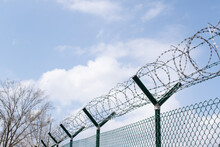 Barbed Wire Fence Outside Felony Prison Freedom Stop Trespassing Security