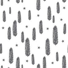 Seamless Pattern Texture With Pine Tree Branches