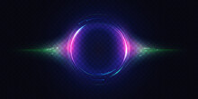Neon Luminous Circle, Light Effect Vector Illustration. Glow Of Circular Round Element, Abstract Radial Motion Lines, Swirl Flare, Particles And Bright Energy Rays On Dark Transparent Background