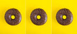 Collage of  chocolate donut on the yellow background. Close-up.