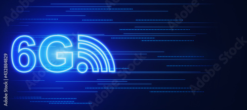 Fotografie, Obraz High speed mobile internet concept with 6G and antenna icon on blue digital background with a space for your logo