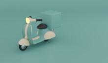 3D Illustration Green Vintage Delivery Bike On Green Background , Food Delivery