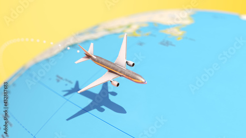 Fototapeta Plane Flying Around a Globe Map 3d illustration render obraz