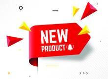 Red Vector Banner New Product. Vector Illustration