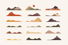 Set Of Trendy Textured Mountains. You Can Create A Lot Of Different Combinations Of Landscapes.