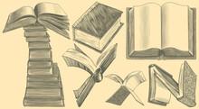 Books. Design Set. Hand Drawn Engraving. Editable Vector Vintage Illustration. Isolated On Light Background. 8 EPS