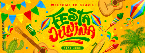Fototapeta Festa Junina Brazil Festival banner template. Folklore holiday. Festa Junina calligraphy lettering with colorful flags garlands, paper lantern, fireworks on yellow background. Vector illustration. obraz