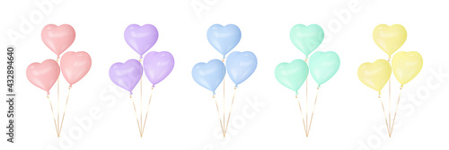 Fotografiet Set of colorful heart balloons
