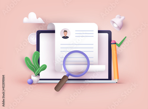 Human resource management and hiring concept. Job interview, recruitment agency vector illustration. 3D Vector Illustrations. - fototapety na wymiar