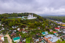 A Panoramic View Of The River And The Historic Center Of Gorokhovets During The Rain Filmed From A Drone