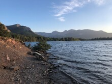 The View Of Beaver Mines Lake In Castle Provincial Park Just Before The Sunset. Popular Camping Spot In Alberta, Canada