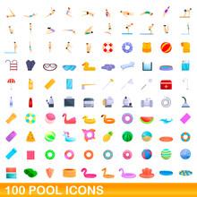 100 Pool Icons Set. Cartoon Illustration Of 100 Pool Icons Vector Set Isolated On White Background