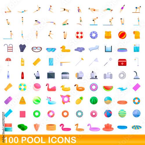 100 pool icons set. Cartoon illustration of 100 pool icons vector set isolated on white background - fototapety na wymiar