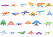 Hang Glider Icons Set. Cartoon Set Of Hang Glider Vector Icons For Web Design