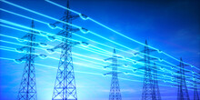 Electricity Transmission Towers With Glowing Wires Against Blue Sky - Energy Concept