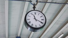Public Clock On The Train Station In Slow Motion 250fps