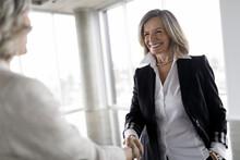 Happy Businesswomen Shaking Hands In Office